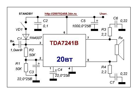 микросхема TDA7241B имеет
